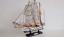 """Wooden Model Boat Sailing Ship Confection Vessel 13"""" Striped Sails Special Read"""