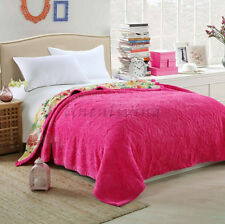 Luxury Mink Blanket Coverlet Embroidery Double Queen Size 200 x 230cm Hot Pink