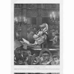 Scene at a Synagogue The Great Day of Atonement - Antique Print 1897