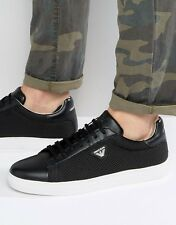 ARMANI JEANS Mesh Leather Low Cut Trainers Sneakers Size UK 10 EU 44 RRP £150