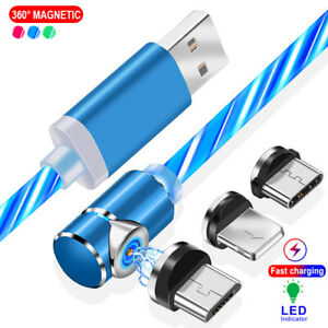 90 Degree Magnetic Type C Micro USB Flowing Light Fast Charger Cable For Samsung