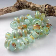 Sand and Sea - 8 Handmade Lampwork Glass Beads, SRA Artist made Beads