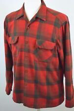 VTG Pendleton Large Red Buffalo Check Plaid Button Up Shirt WOOL 60's made USA