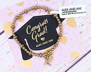 NEW Alex and Ani Class of 2021 Stretch Cap Graduation Charm Gold Bracelet W/Card