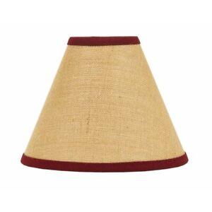 Lamp Shade 12 inch Burlap w/Barn Red Stripe Farmhouse Primitive Decor Ring Clip