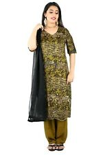 Olive Green  Embroidered  SILK SALWAR KAMEEZ DRESS CHEST SIZE 50
