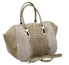 Made in italy señora bolso Hobo Bag real nobuck cuero cocodrilo más de lo Alligator Memorízala. naturaleza