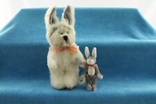 T.F. Wuzzies Gray Rabbit Vtg 1990 Boyds Bear in White Bunny Costume Outfit Lot
