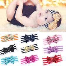 Black Baby Infant Hair Band Sequined Bow Headband Turban Knot Hair Accessories