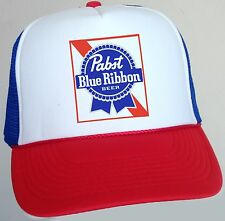PBR TRUCKER HAT Pabst Blue Ribbon Beer Cap Snapback Mesh Baseball Funny Retro