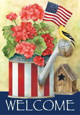New Toland Patriotic Watering Can Goldfinch Garden Flag 12.5 X 18 - Pretty Flag!