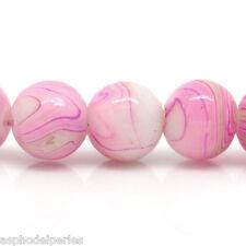 20 perles en verre avec effet berlingot rose 8 mm