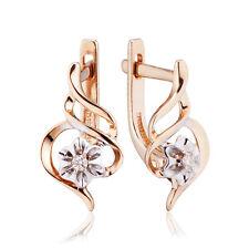 Earrings NEW Gold Rose 14K diamonds Russian fine jewelry USSR style 585 2.32g