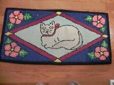 "Primitive folk art hand hooked cat rag rug 17"" x 35"""