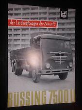 Prospekt Sales Brochure Büssing Typ 7500 U LKW Truck Camion Technische Daten