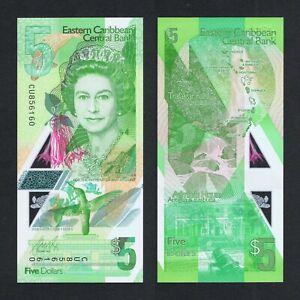 2021 EAST CARIBBEAN 5 DOLLARS POLYMER P-NEW UNC> > >QUEEN E II DOMINICA ANTIGUA