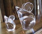 1960's Swedish Art Glass Maleras, Folke Walving Mother & Baby Mouse EUC