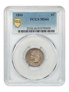 1860 1c PCGS MS66 (Round Bust) Gem Type Coin - Indian Cent - Gem Type Coin