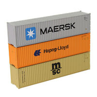 3pcs HO Scale 40ft Shipping Container Freight Car Maersk Hapag-Lloyd MSC