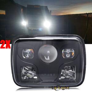 "Pair Black 7x6"" Rectangle Led Headlight Hi/Lo for Jeep Cherokee XJ YJ Chevy Ford"