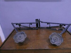PAIR OF WROUGHT IRON FOLDING CANDLE WALL SCONCES / HOLDERS HANDMADE ARTISANAL