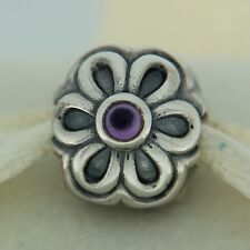 Authentic Pandora 790953AM Zinnia Amethyst Clip Sterling Silver Bead Charm