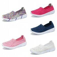 Women's Sneakers Breathable Slip-On Walking Shoes Woven Stretch Mesh Handmade L