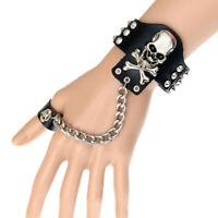 Gothic Rock Punk Schwarz Leder Manschette Armband Besetzt Nieten Spike Armreif