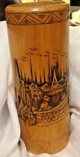 Vintage Bamboo Vase With Carved Asian Looking Design Men In Boat Pagodas Water