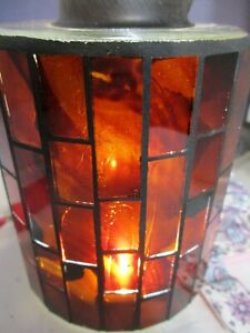 Pendant light with red glass cover with brick glass design, great look