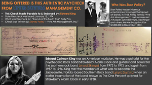Authentic 1974 Lynyrd Skynyrd Signed Tour Pay Check for Ed King - Second Helping