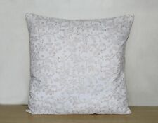 "16"" Indian White Gold Floral Printed Hand Block Cushion Cover Pillow Case Covers"