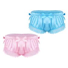 Men's Sissy Satin Ruffled Knickers Lace Briefs Underwear Skirted Panties Bikini