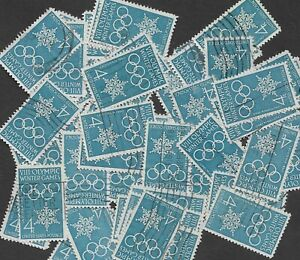 Postage Stamps For Crafting: 1960 4c Winter Olympics/Snowflake; Blue; 50 Copies