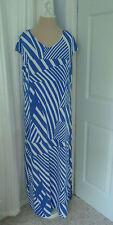 CHICO'S TRAVELERS Blue White Angled Stripe Maxi Dress Size 2 (12-14) NWT $109