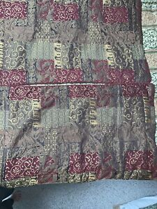Croscill Galleria Set Of 2 King Brown Gold Red Chenille Patchwork Pillow Shams