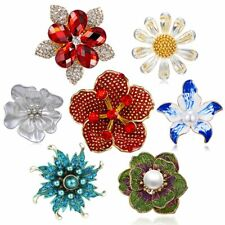 Fashion Flower Brooches Pin Crystal Enamel Badges Broach Collection Jewellery