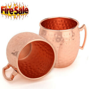 2PCS Hammered Moscow Mule Mug Drinking Cup 100% Pure Solid Copper Brass 16 Oz FD