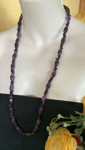 """Jay King DTR 925 Sterling Silver Long Faceted Amethyst Garnet 32"""" Necklace"""