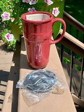 New ListingLongaberger Paprika Pottery Travel Mug Cup & Lid Woven Traditions New in Box