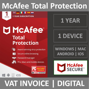 McAfee Total Protection 2021   1 Device   1 Year   PC/Mac/Phone   Security
