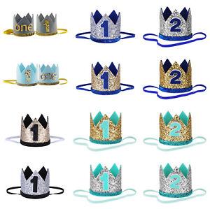 Kid Baby Girls Boys Shiny Birthday Party Hat Crown Elastic Headband Photo Props