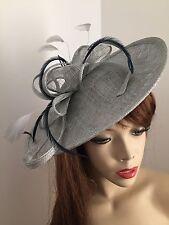 Silver Grey Navy Hatinator Saucer Hat Fascinator Wedding Formal Ladies Races