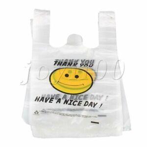 100pcs Plastic Reusable Singlet Grocery Shopping Checkout Carry Bags 20x30cm