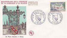 FRANCE 1966 FDC BICENTENAIRE DE LA REUNION DE LA LORAINE YT 1483