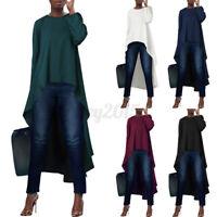 US STOCK Women Long Sleeve Solid Shirt Tops Asymmetrical High Low Blouse T-Shirt