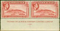 Gibraltar 1938 1 1/2d Carmine SG123 P.14 V.F MNH Imprint Pair
