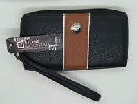 Stone Mountain Ladies Clutch Wallet w/wrist strap. Black/ Brown Leather NEW