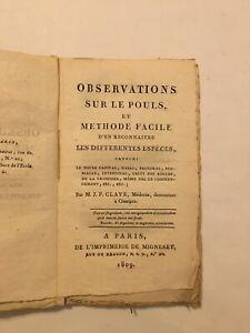 M.J.P. Claye, médecin de Chartres - Observations sur le Pouls - 1809
