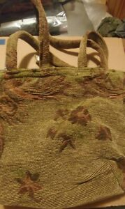 New Green & Brown tapestry purse vintage style. Chenille Tote
